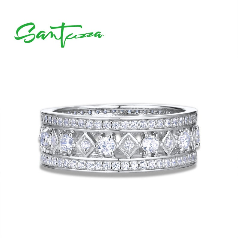 SANTUZZA Handmade White CZ All the Way Round Band Ring Sterling Silver Ring White Cubic Zirconia R305743WCZSL925