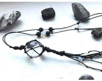 Rock crystal amulet necklace