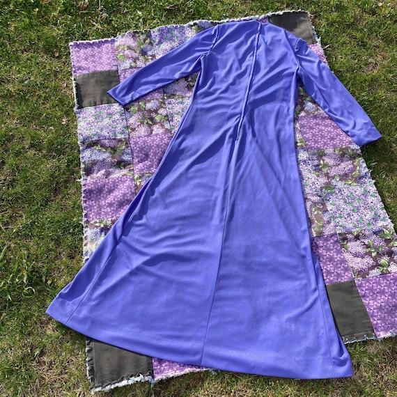 vtg vintage maxi long dress 1970s cottage  purple… - image 2