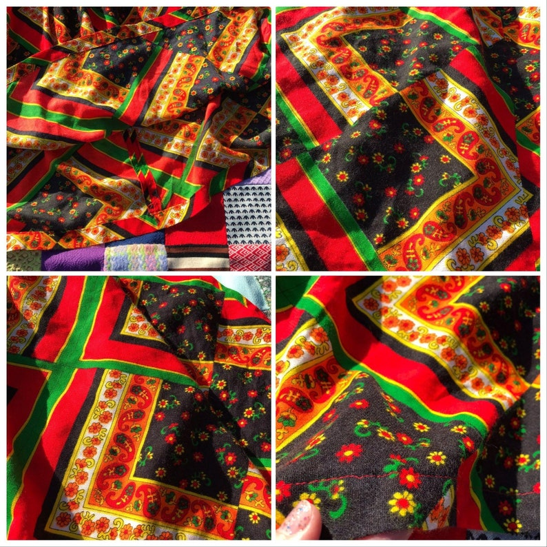 vtg vintage 70s prairie multicolor floral patchwork print midi long skirt boho cottage bold black red green flower handmade hand made one of