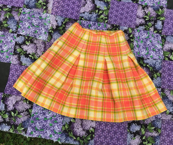 Coral pink wool plaid skirt XS S  yellow green bei