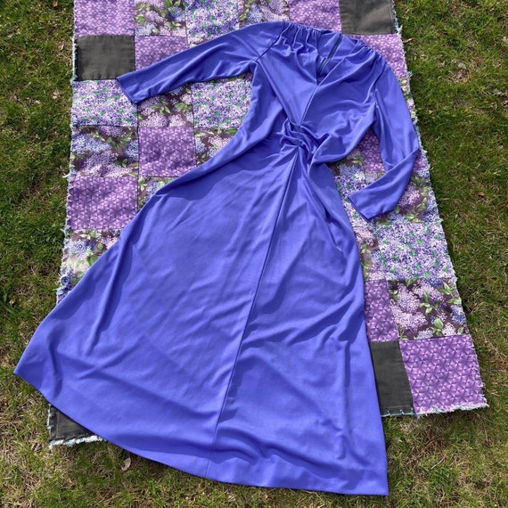 vtg vintage maxi long dress 1970s cottage  purple… - image 6