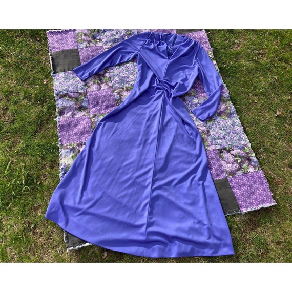 vtg vintage maxi long dress 1970s cottage  purple… - image 1