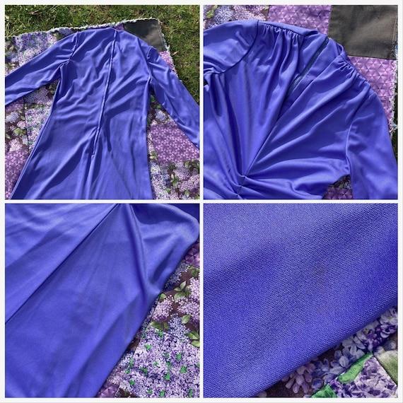 vtg vintage maxi long dress 1970s cottage  purple… - image 4