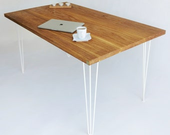 Hairpin Leg Solid Oak Wood Dining Table