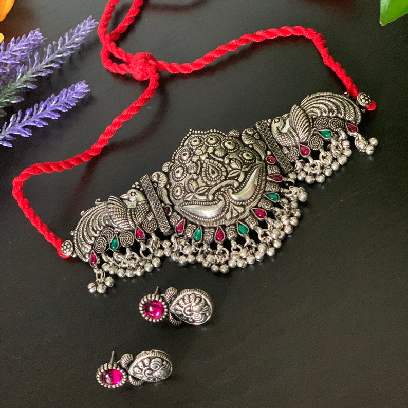 Kolhapuri Choker Necklace Set with matching earrings  Temple Jewelry oxidized silver necklace set   Tribal necklace