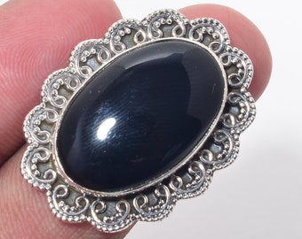 9.5 Gm Black Onyx Gemstone Solid 925 Sterling Silver Ring Size 8.25