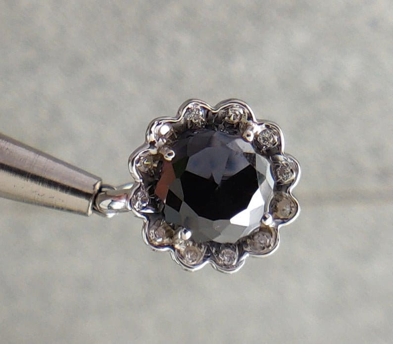 5.17Gm Round Cut Black Moissanite 925 Sterling Silver Ring Black Moissanite Black Moissanite Ring Black Moissanite Ring Moissanite Ring