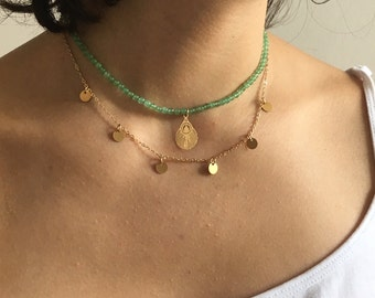 Gold beads necklace Emerald crew neck trendy chain