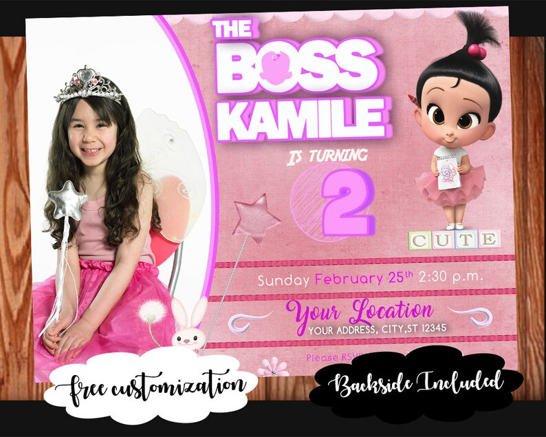 The Boss Baby Invitation For Girls Customizable Digital Birthday Party Card Backside Art And Photo Add On Included