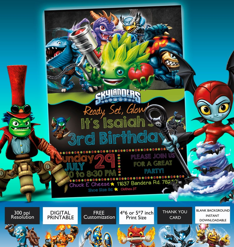 Skylanders Birthday Invitation Customizable Digital Card