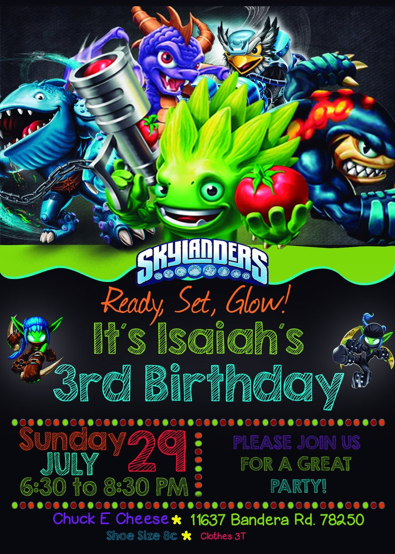 Skylanders Birthday Invitation Customizable Digital Card