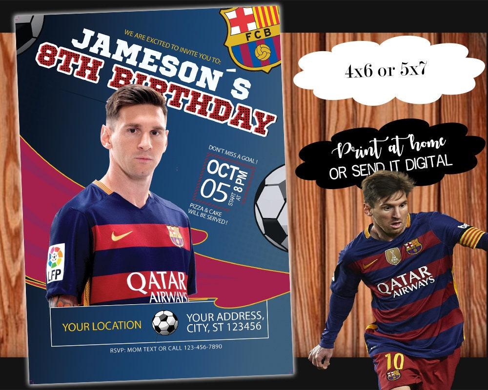 c0aaaefd4 FC Barcelona Birthday Invitation with Messi Customizable