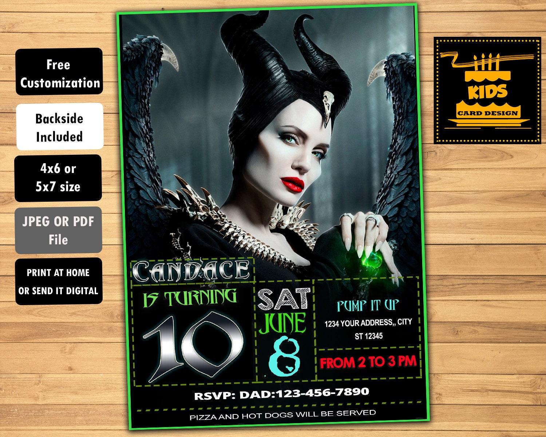 Maleficent Invitation, Disney Customizable Digital Birthday Party Card,  Backside Art Included