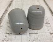 Handmade Pottery Salt Pepper Shakers, Grey Glaze, 2.75 quot