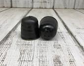 Black Handmade Pottery Salt Pepper Shakers, Seasoning, Matte Black Glaze, 2.5 quot