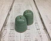 Handmade Pottery Salt Pepper Shakers, Green Patina Glaze, 2.75 quot