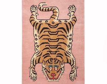 Handtufted Rectangle Tibetan Tiger Multiple Sizes Room Decoration Rug Pink Color With Free Shipping, Animal Shape Rugs, Tibetan Tiger Rug