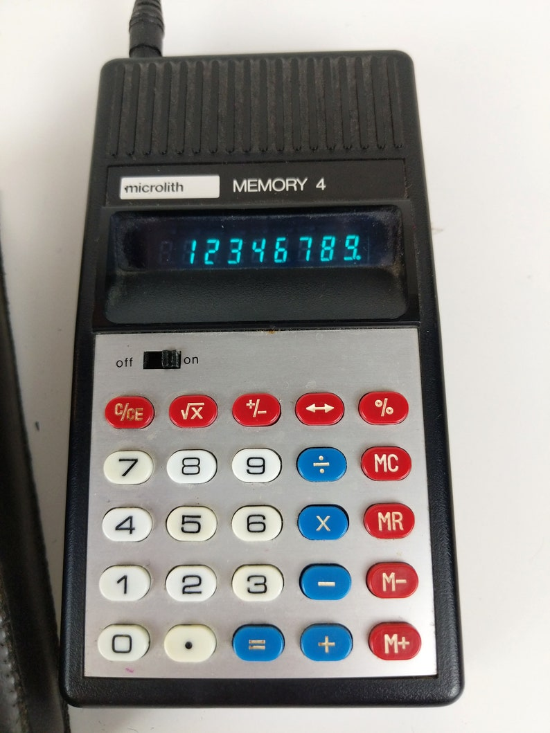 Vintage Calculator microlith MEMORY 4  Model No 113G Green LED Working with Case
