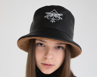 Headdress woman Winterized bucket hat with personal embroidery |Fur hat hair cover Black color warm winter panama hat Christmas gift