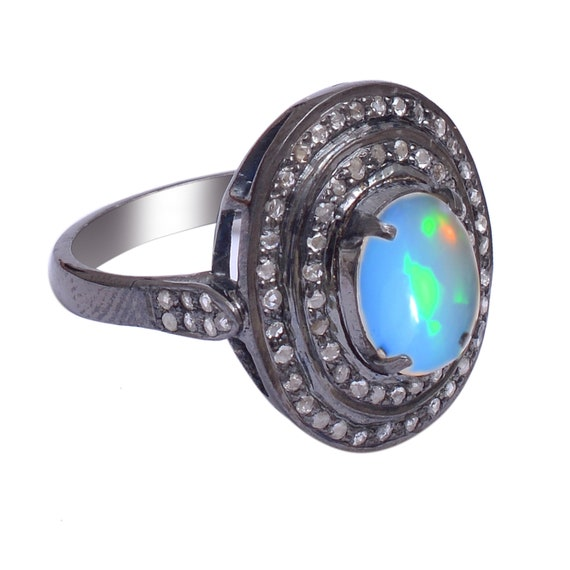 Oval Ethiopian Opal Ring Art Deco Style Sterling Sliver Filigree 5.28 ct