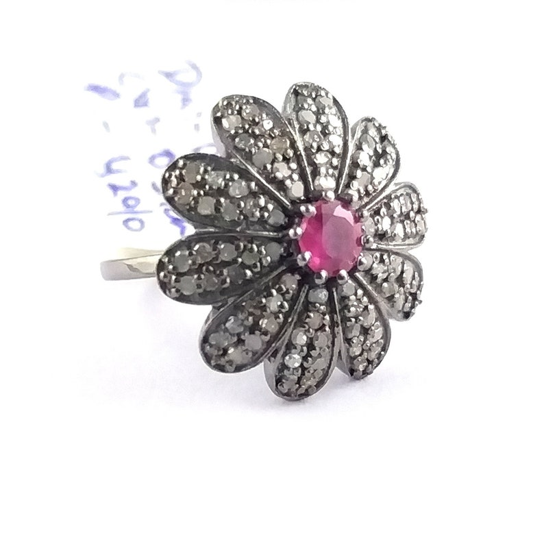 Natural Vintage Ruby Ring Art Deco Ruby Fine Diamond Engagement Ring 925 Sterling Silver Gold Plated Women Anniversary Victorian Ring