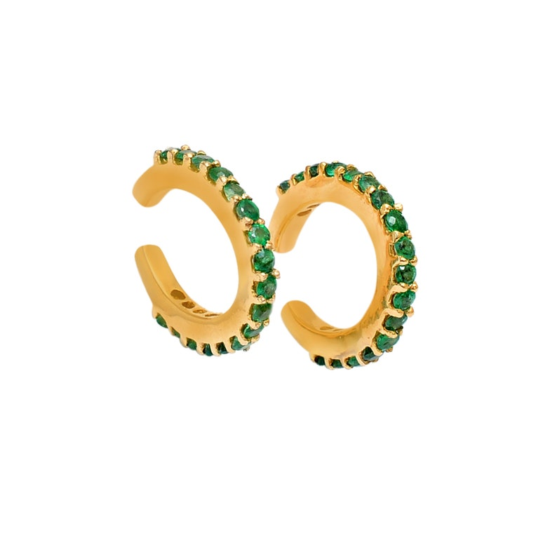 No Piercing Pave Emerald Ear cuff Earring 1 pc Zambian Emerald Ear cuff Gold Over 925 Sterling Silver Emerald Gemstone Earring Open Hoops