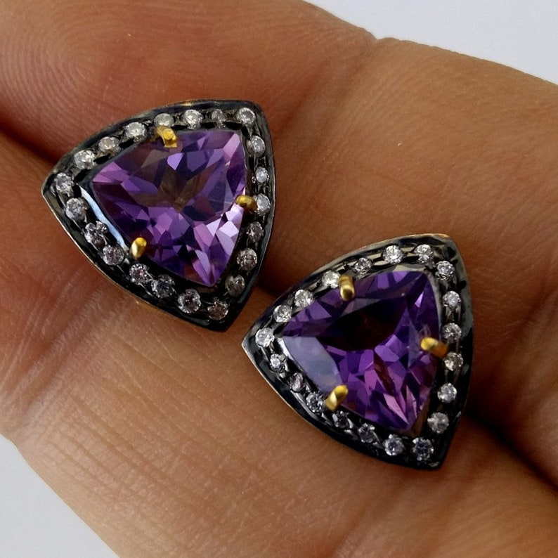 925 Sterling Silver Purple Gemstone Victorian Earring Jewelry Birthstone Earring Jewelry 1 Pair Art Deco Natural Amethyst Stud Earrings