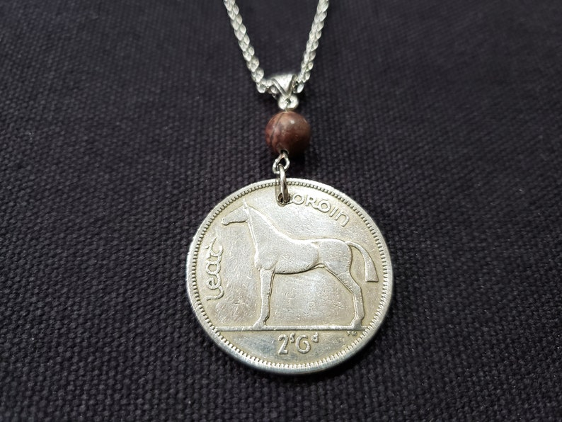 Irish Coin Necklace horse necklace equestrian jewelry Ireland necklace 1951 Cork Red #389 Irish stone pendant horse lover gift