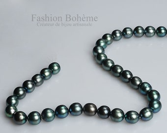 Perles de Culture d'Eau Douce Semi-Percées Bouton Vert Noir Paon AAA