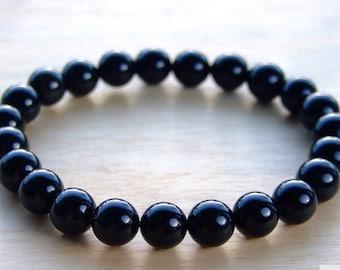 Black Agate Stone 8 mm natural stone bracelet