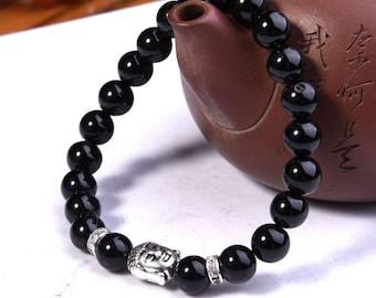 Men Black Onyx and 8 mm Buddha bracelet