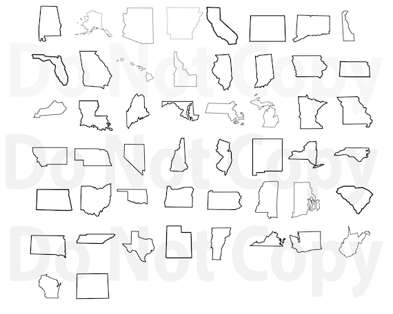 50 States Outline SVG Bundle, United States Map Svg file for cricut, State  Design Elements Vector image, clip art png, dxf, esp Silhouette