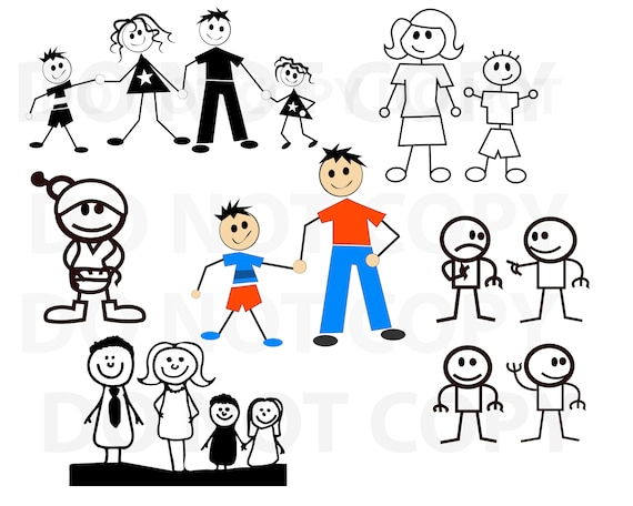 Stick Figures Svg Bundle Family Svg File For Cricut Stick Etsy