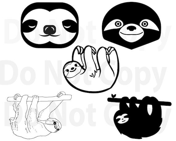 Sloth Svg Bundle Sloth Face Svg File For Cricut Design Etsy