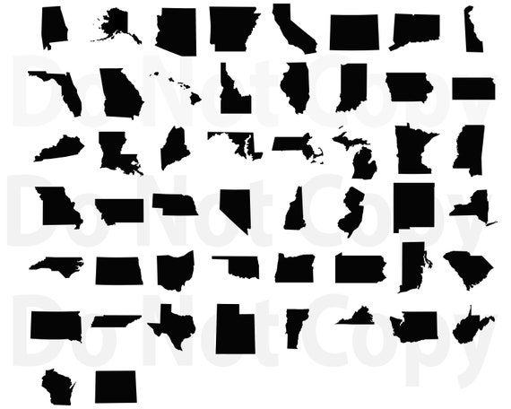 50 States SVG Bundle, United states Map Svg file for cricut, State Design  Elements Vector image, clip art ,svg, png, dxf, esp Silhouettes