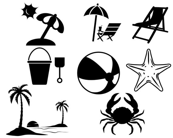 Beach Svg Bundle Vacation Vector Summer Svg File For Cricut Etsy