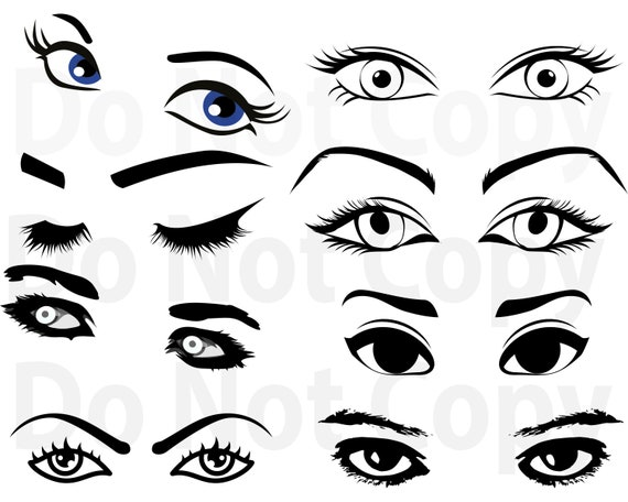 Eyes Svg Bundle Womans Eyes Svg File For Cricut Eyelash Svg Etsy
