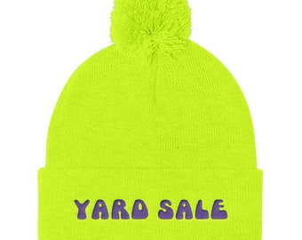 Yard Sale Beanie Ski Gift Snowboard Winter Hat Slouchy Beanie Gift For Him  Best Friend Gift Pom Pom Knit Cap Mens Gift Funny Hat Stag Party 64fd394e24c