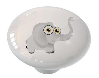 Chubby Little Elephant Decorative High Gloss Ceramic Knob