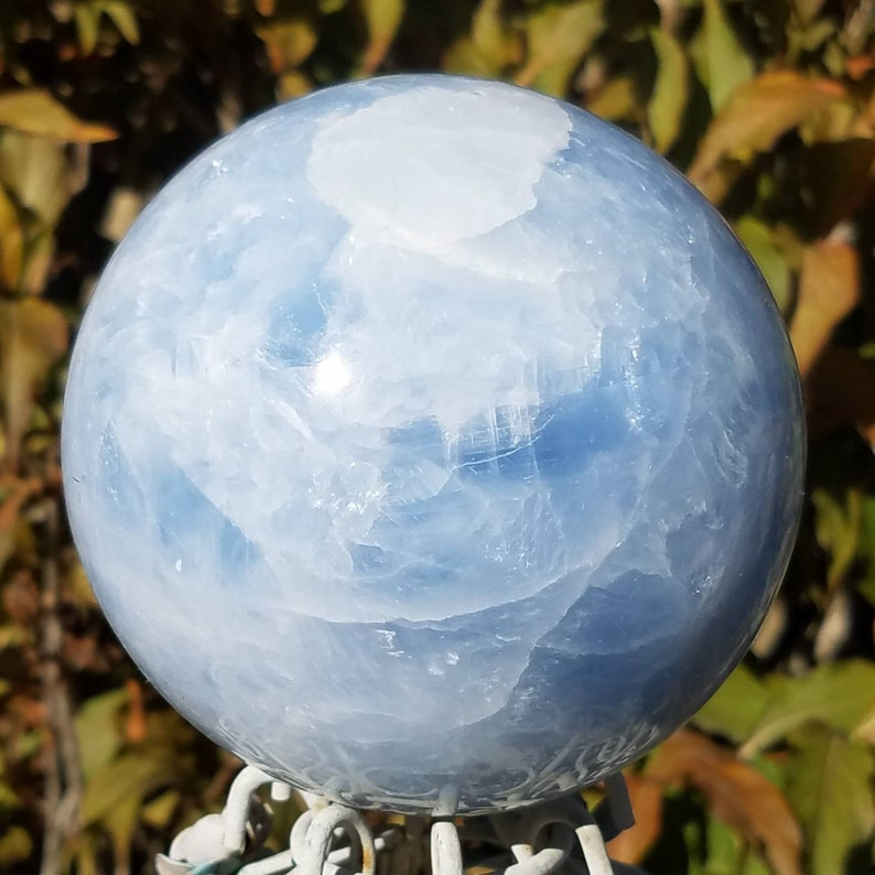 Blue Celestite Sphere Mystical Crystal Ball Celestine 84mm Natural Scrying Angel Chakra Feng Shui Metaphysical Meaning Decor Office Altar