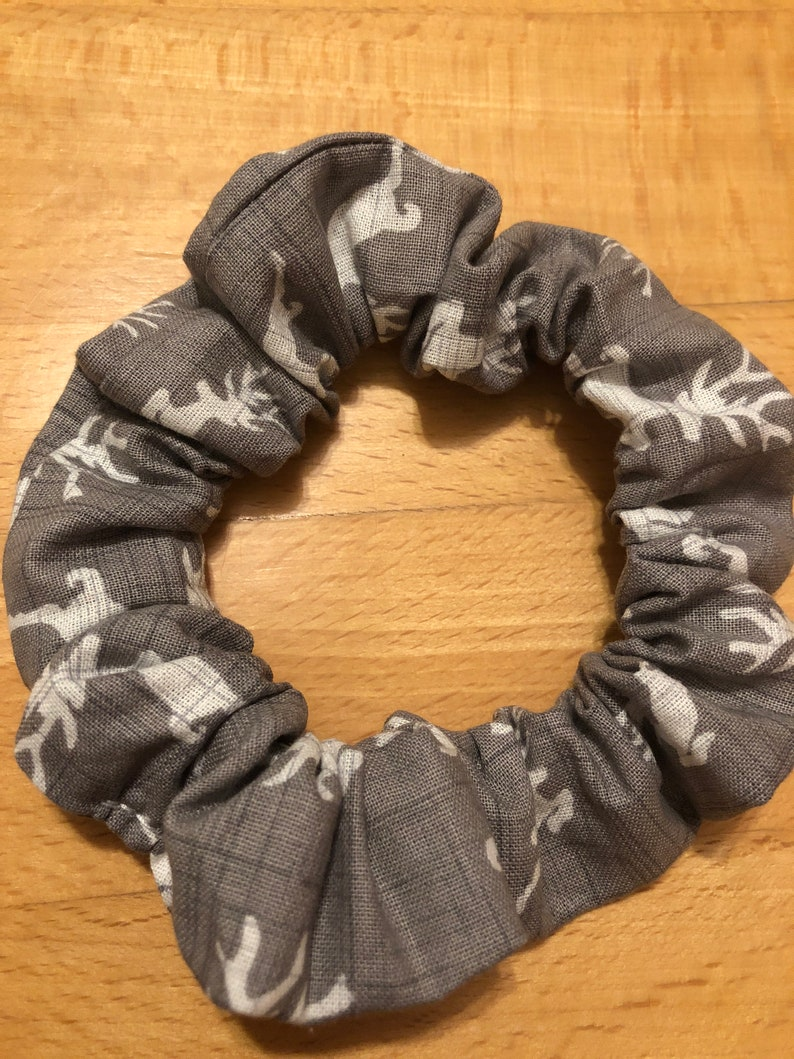 Gray reindeer scrunchie
