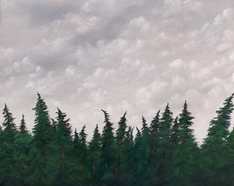 original painting, oil, artwork, art, wall art, landscape, trees, clouds,