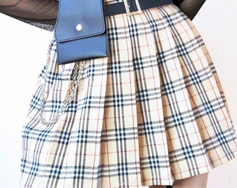 6d81e89294 Classic plaid checked pleated skirt