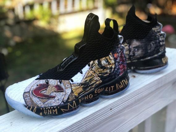 51f62ae2a2d Custom LEBRON 15 Handpainted Sneakers art Customs Nba