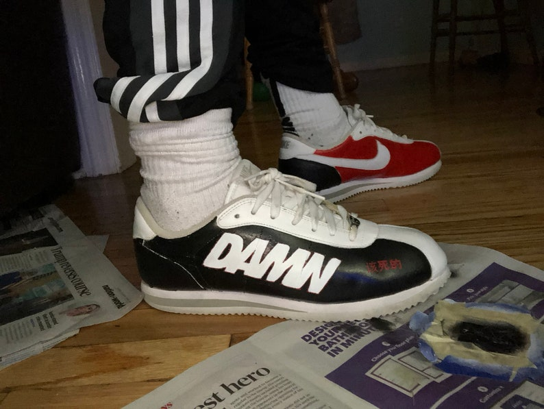 sale retailer dc8c5 a2293 Custom nike cortez, kendrick lamar, cortez kenny,custom sneakers, shoes,  damn, hand stitched, hand painted