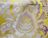 Embroidered silk lampas background yellow gold and silver Louis XV - 18th century Lyon factory