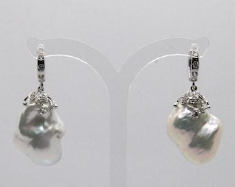 White Freshwater Shiny Pearl Oxidized Silver Wedding Earrings Large Baroque Pearl Drop Earrings
