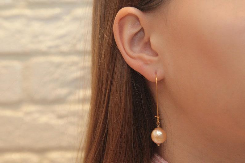 Minimalist Dangle Earrings Small Baroque Pearl Drop Earrings White  Purple Small  Long Earrings Birthday Gift