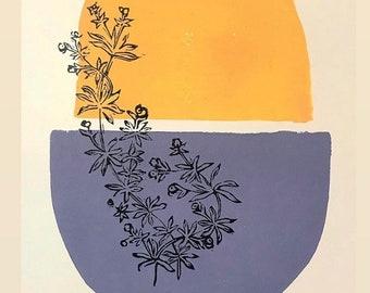Bedstraw original Linocut